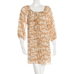 Tibi Tan and Cream silk dress